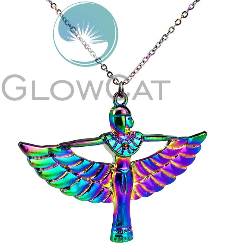 "Primary image for Rainbow Color Egyptian Goddess Isis Ancient Egypt God Winged 20"" Collar Pendant"