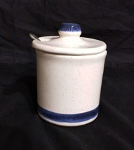Vintage Condiment, Sugar, Jam/Jelly Jar McCoy 1852 Cobalt Blue Trim Japa... - $16.79