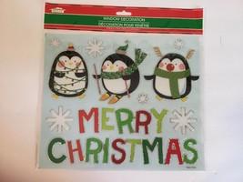 New Christmas House Window Decor 9.75 x 11.5 Merry Xmas Penguins - $6.79