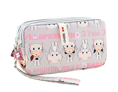 Cute Three Zipper Clutch Bag Nylon Wrist Bag Coin Purse Cellphone Pouch Cat