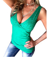 SEXY WOMEN LOW-CUT SLEEVELESS DEEP V-NECK FITTED SUMMER CROCHET LACE TAN... - $14.89