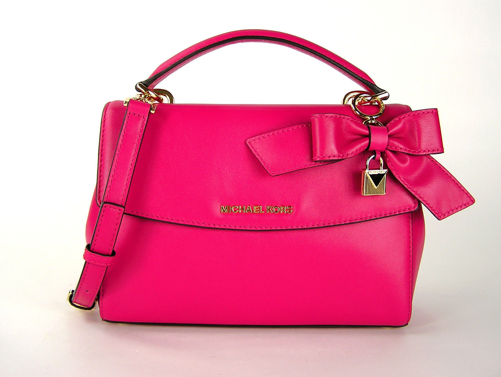 e34bd4dbe510 S l1600. S l1600. Previous. Michael Kors Ava Small Leather Top Handle Bow  Satchel Crossbody Ultra Pink NWT