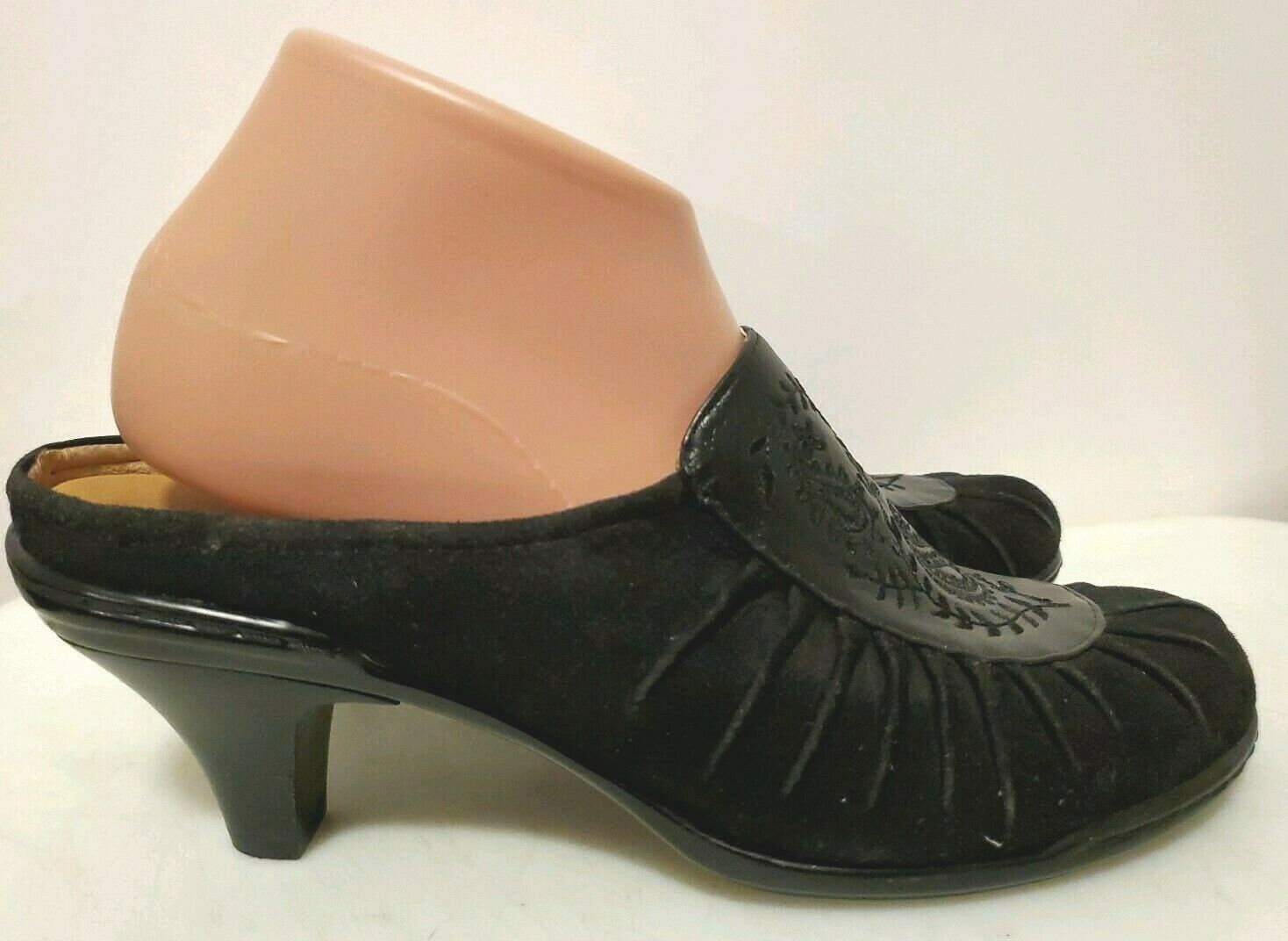 Sofft Black Embellished Leather Suede Mules Slip On Heels For Women Size 8.5 M - $18.50