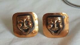 """1""""VINTAGE Rustic Patina Copper Mime Clown Face EARRINGS,3D,CLIP On,Unique,Rare - $6.05"""