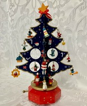 Vintage Wooden Christmas Tree with Miniature Ornaments Musical Blue w/ R... - $44.99