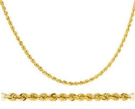 """14k Yellow Gold 3mm D-cut Rope Chain Necklace - 20"""" 22"""" 24"""" 26"""" & 30"""" Av... - $343.97+"""