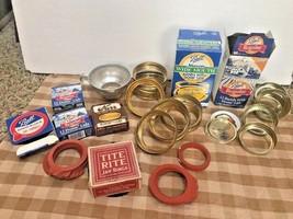 Vintage Lot Canning Box Ball Mason Rubbers Jar Rings Dome Lid Seal Metal... - $24.74