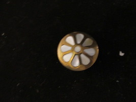 Vtg Brass Box Mother of Pearl - 1950's Lotus Flower Mon Design Pill Box - $13.10