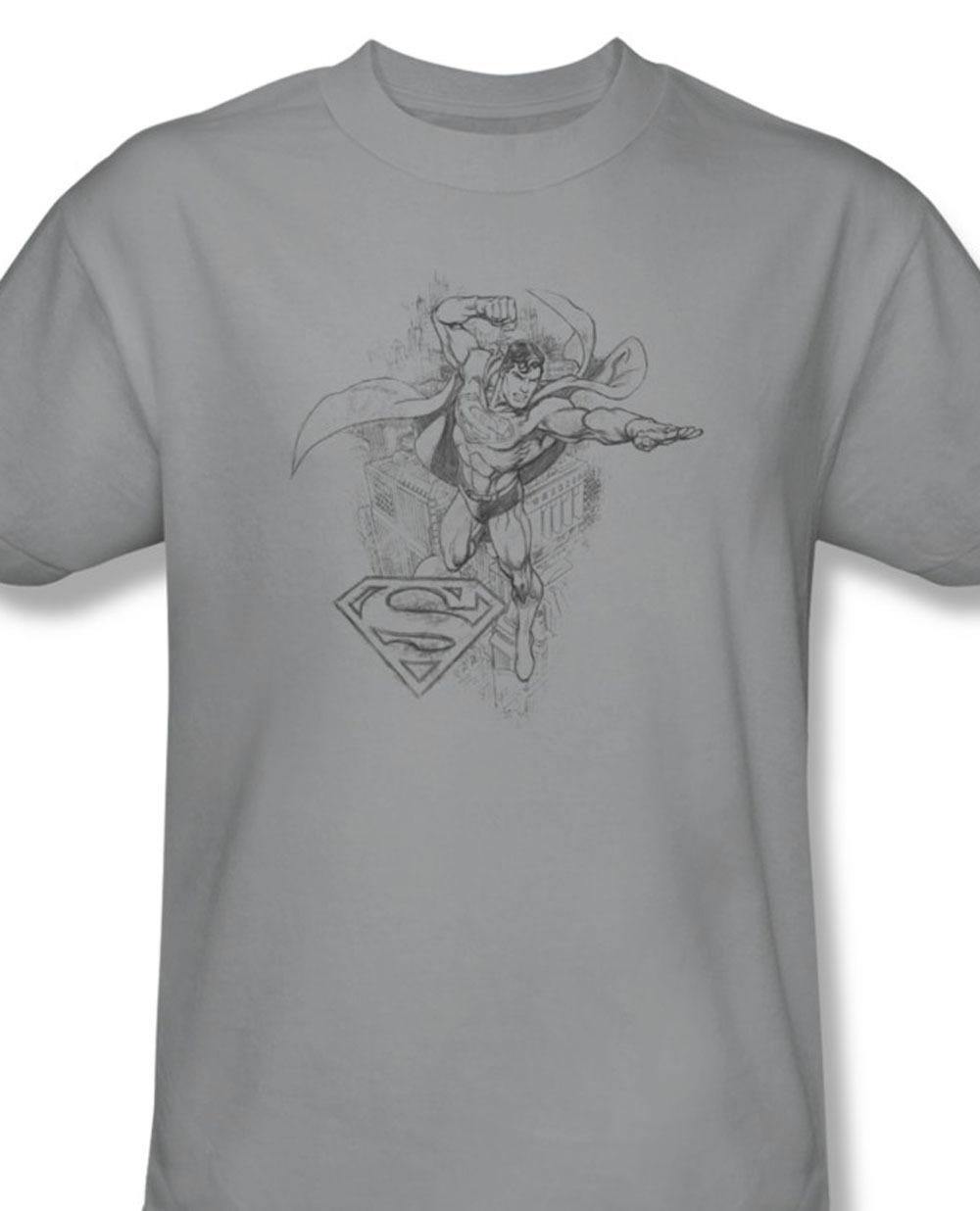 S superhero superman pencil illustration wonder woman batman for sale online gray graphic tshirt