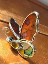 Estate Painted Glass & SIlvertone Metal Orange & Green Butterfly Tree Or... - $11.29