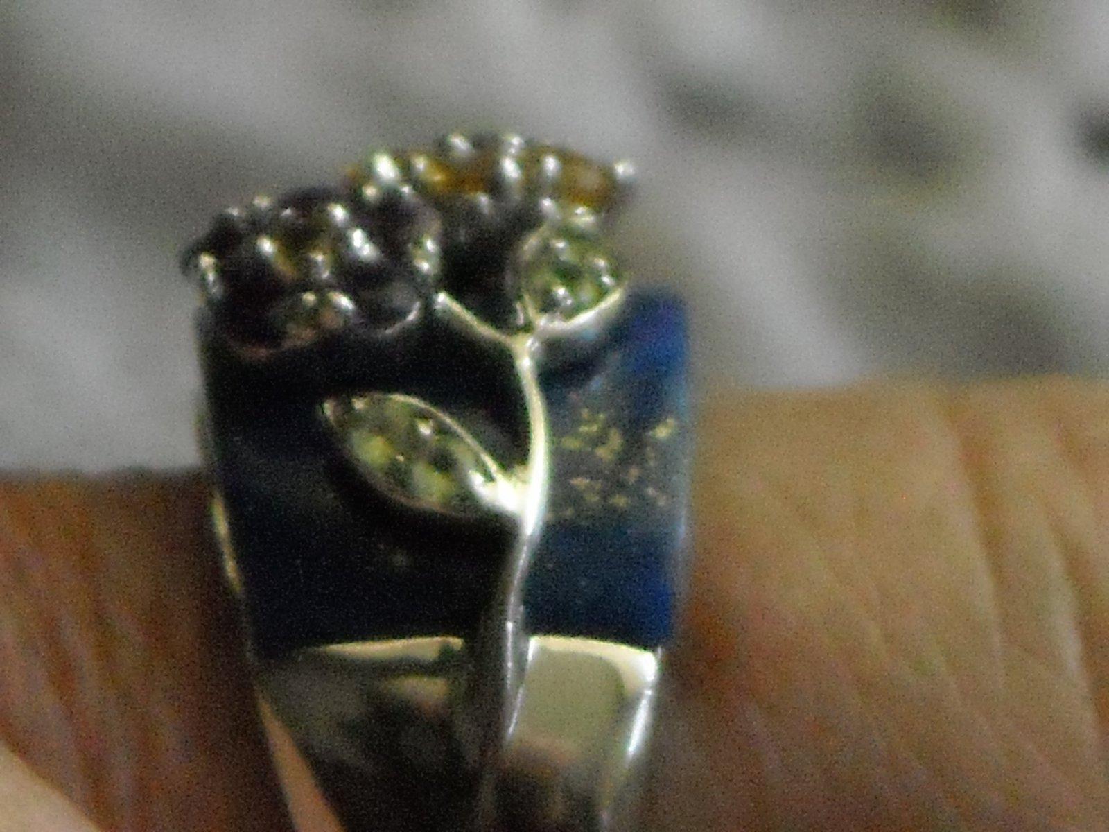 Vintage Sterling Ring Inlaid Laips Lazuli & Gemstones Set In Sterling Flowers 9 image 3