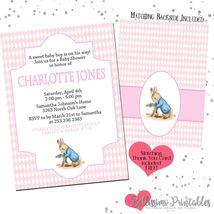 Peter Rabbit baby shower birthday PINK Invitation PRINTABLE FREE thank you - $12.00