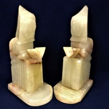 Pair of carved onyx monk book ends - $89.00