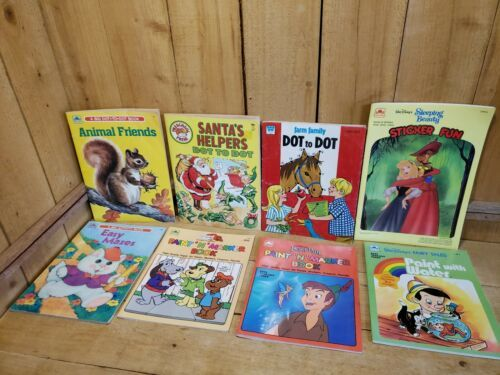 Primary image for 8 Vintage 70s-80s Mixed lot of Books Paint By Number Dot to Dot & Activity Books