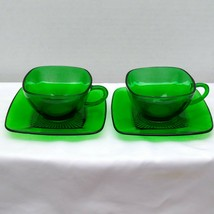 Two Fire King Anchor Hocking Green Forest Charm Square Dish Cups & Saucers - $9.95