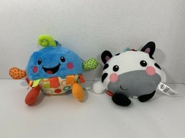 Fisher-Price Giggle Gang LOT 2 laughing plush baby toys blue polka dots ... - $9.89