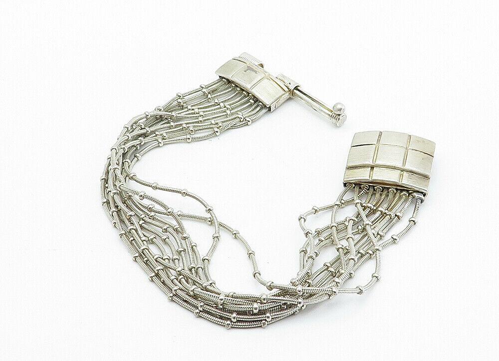 925 Sterling Silver - Vintage Multi-Strand Checkered Chain Bracelet - B6001 image 3