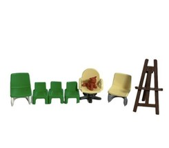 Playmobil Dollhouse Cat Green Office Chair Lot 6 chairs - $13.99