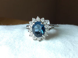 Blue CZ Stone Sunburst White Stone Border Stainless Steel Ring Size 7 and 7.75 image 8