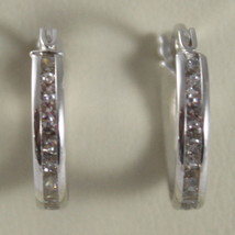 """SOLID 18K WHITE GOLD CIRCLE EARRINGS WITH ZIRCONIA, DIAM 0.51"""" MADE IN ITALY image 2"""