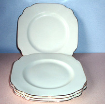 "Royal Albert English Rose Square 4 Salad Dessert Plates Lt Green/Gold 8"" New - $78.90"