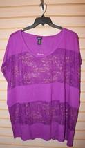 New Torrid Womens Plus Size 4X 4 Vivid Purple Lace Panel Dolman Top Shirt Gorg!! - $21.28