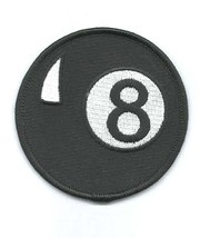 8 ball, round embroidered iron / sew on patch