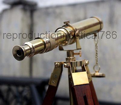 Vintage Brass Spy Glass Desk Telescope Handmade Wooden Tripod Tabletop Telescope
