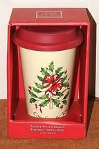 Lenox Double Wall Ceramic Thermal Travel Mug HOLIDAY Comfort and Joy, NIB - $10.69