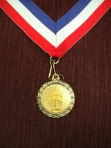 Jewish menorah gold medal with neck drape - $2.89