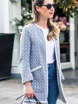 Bnwt Zara Ecru Blue Frayed Printed Coat REF.2784/899 - $69.99