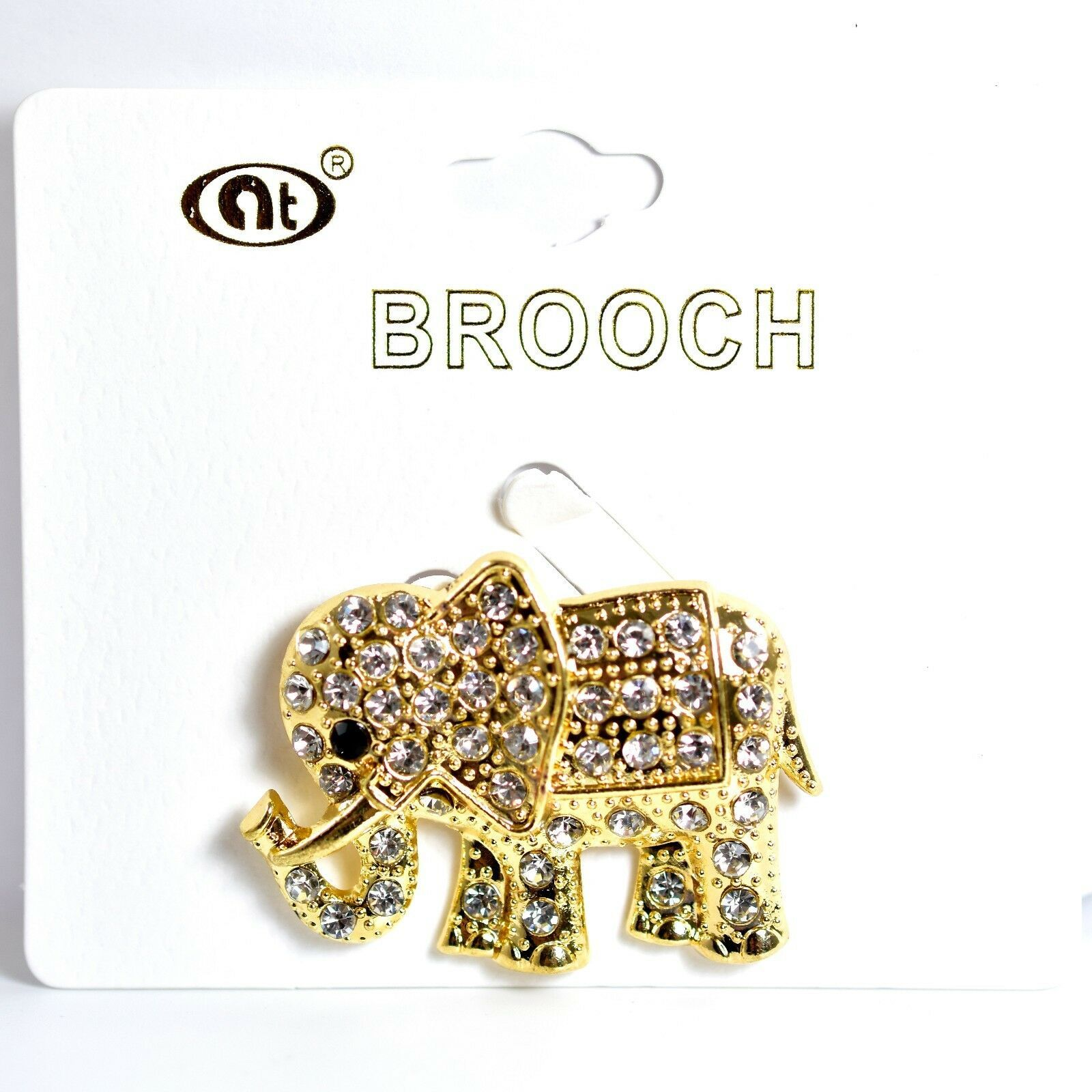 "Gold Tone Pave Crystal Elephant 1.5"" Pin Brooch New With Tags"