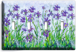 Lilac Irises Claude Monet Painting 4 Gang Light Switch Wall Plate Room Art Decor - $17.99
