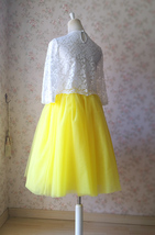 Yellow Puffy Midi Tulle Skirt Plus Size Tulle Tutu Skirt 6-layered Yellow Skirt  image 7
