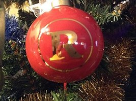 Letter R in Gold on Red Ceramic Monogram Ornament