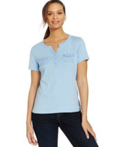 Karen Scott Women's Graphic Dot Button-Down Blue Shirt Size X-Small - $13.37