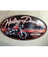 "Harley Davidson 21 x 13.5"" Fat Boy Oval Embossed Tin Sign Fat's Where It... - $24.74"