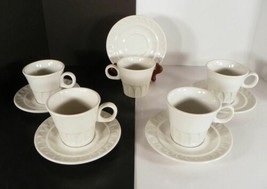 Mayer SCULPTURA White Flat Cup and Saucer Set (s) LOT OF 5 Embossed - $22.72