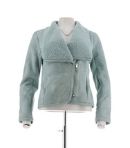 H Halston Faux Shearling Motorcycle Jacket Silver Sage 16 NEW A281245 - $63.34