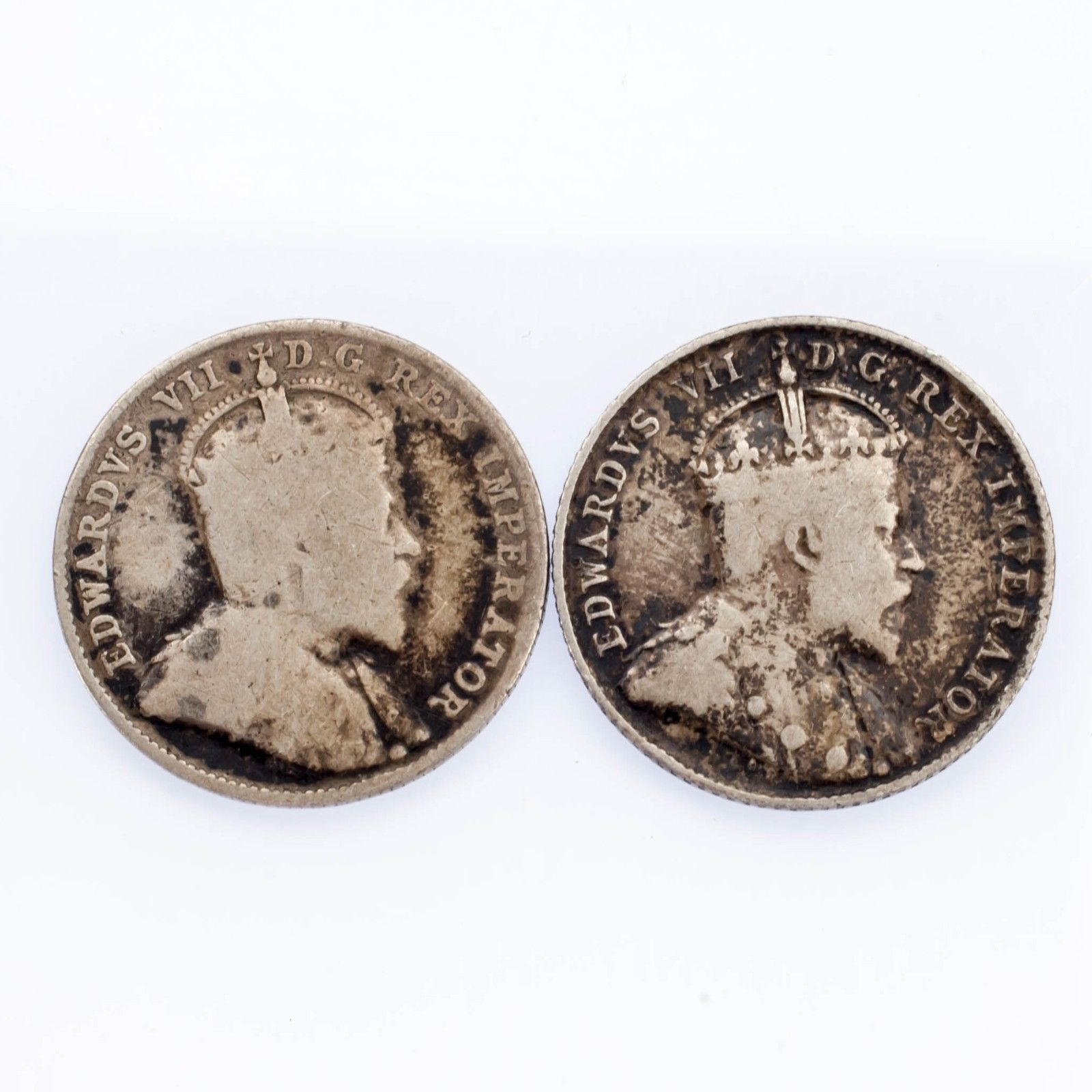 Lot of Two Canada 10 Cent 1903-H and 1907 in Fine Condition KM #10