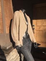 Women's Chico's Size 1 Gold Metallic Open Drape Ribbed Sweater Free Ship - $28.04