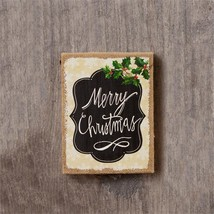 Country new MERRY CHRISTMAS wood box sign hanger - $12.19