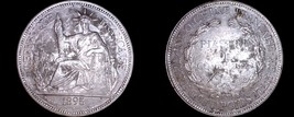 1895-A French Indo-China 1 Piastre World Silver Coin - Vietnam - $199.99