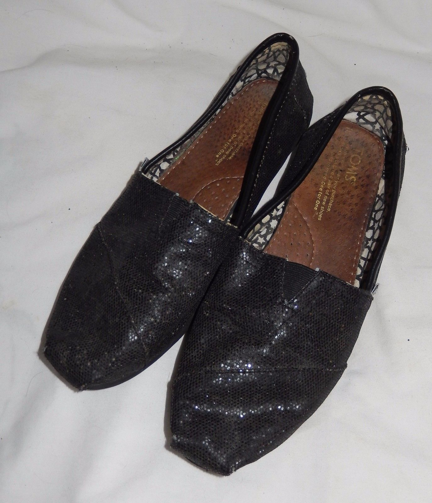4ed3002a591 S l1600. S l1600. Previous. TOMS Black Glittery Shiny Classic Canvas Slip  On Shoes Loafers Women s Size 6.5