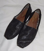 TOMS Black Glittery Shiny Classic Canvas Slip On Shoes Loafers Women's S... - $11.99