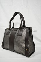 NWT! Fossil Leather Gwen Satchel  in Shimery Pewter and Dark Brown MSRP $248 - $169.00