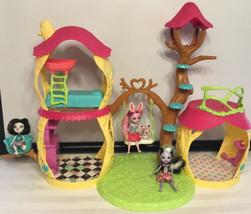 Enchantimals Playhouse Tree House 3 6 inch Dolls Sage Bree Prue 1 Twist ... - $49.45
