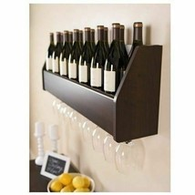 Espresso Wood Wall Mount Wine Rack Hanging Glass Storage 18 Bottle Holde... - $84.05