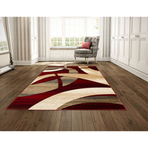 """5x8 (5'2"""" x 7'2"""") Contemporary Abstract Geometric Carved Red Area Rug - $139.00"""