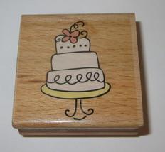 """Wedding Cake Rubber Stamp Three Tier Flower Dessert Wood Mounted 2""""  - $3.46"""